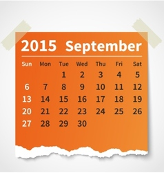 Calendar september 2015 colorful torn paper vector