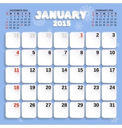 January month calendar 2015 vector