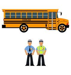 school bus and school bus driver vector image