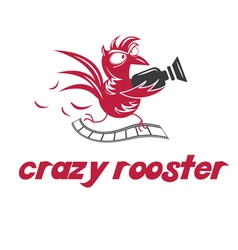 Crazy rooster vector