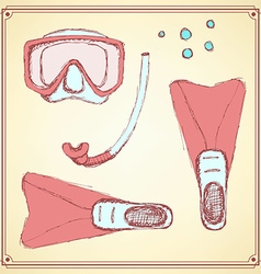 Sketch diving set in vintage style vector