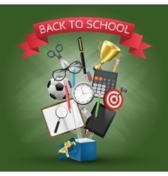 Open box with school supplies vector