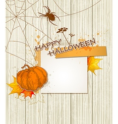 Spider pumpkin and paper sheet vector
