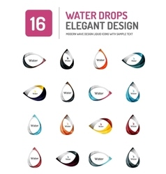 Water elegant symbol set vector