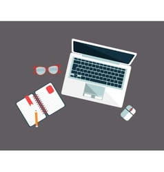 Workplace with lap top vector