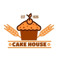 Chocolate cake retro badge for bakery design vector