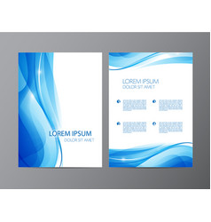 Abstract modern wavy blue flowing flyer vector