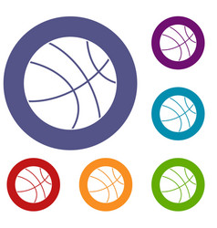 basketball ball icons set vector image vector image