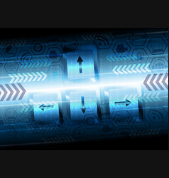 blue computer background with the keyboard vector image vector image