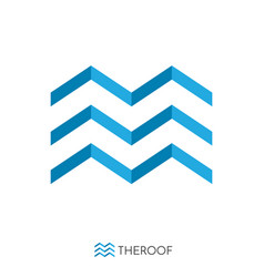 blue roof and wave concept logo logo template vector image
