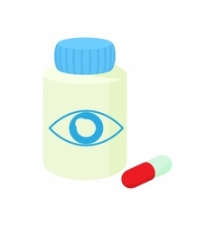 Bottle of pills for the eyes icon cartoon style vector image vector image