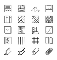 Building materials line icons vector