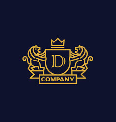 Coat of arms letter d company vector