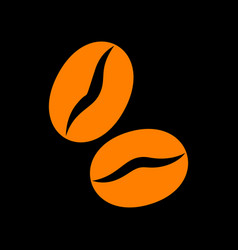 Coffee beans sign orange icon on black background vector