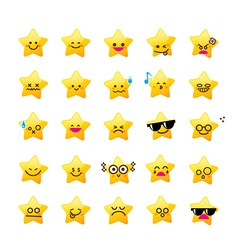 Collection of difference emoticon icon of star vector image vector image