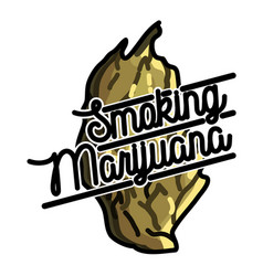 Color vintage marijuana emblem vector