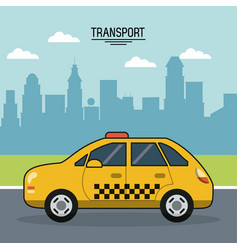 Colorful poster of transport with cab on the vector