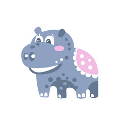 Cute cartoon hippo character standing on four legs vector