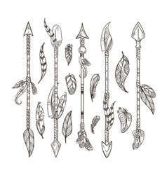 Decorative arrows and feathers set in boho style vector