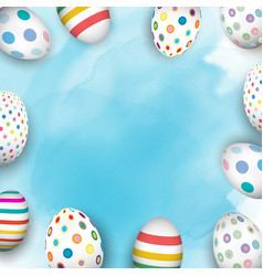 Easter eggs on watercolour background vector