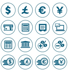 Financial and money icons set vector image