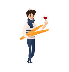 Flat french young man with wine baguette vector