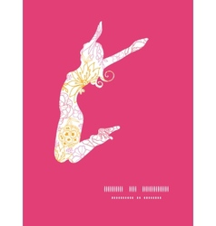 flowers outlined jumping girl silhouette vector image vector image