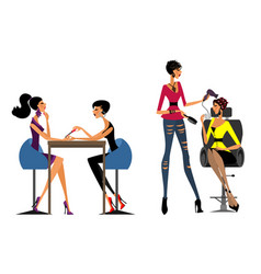 girls in the beauty salon vector image vector image