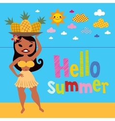Hello summer pineapple hula girl on the beach vector