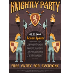 Heraldic Knight Poster vector image vector image