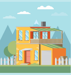 house flat style mountains and trees vector image vector image