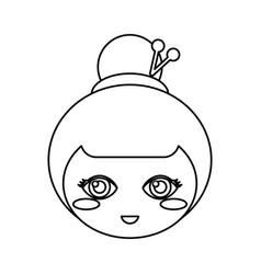 Kokeshi head face doll outline vector
