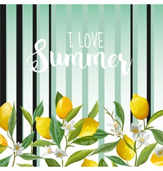 Lemon floral background summer background fruits vector