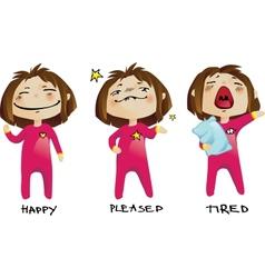 Little girl emotions vector