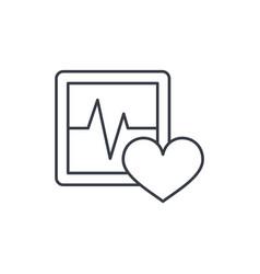 pulse ecg cardiogram thin line icon linear vector image
