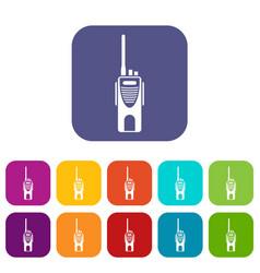 Radio transmitter icons set vector