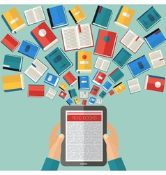 Reading books and e-books flat design vector