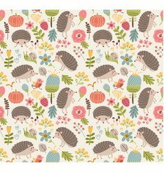 Seamless pattern forest with hedgehogs vector