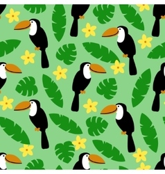 Seamless pattern with toucan palm leaves and vector image vector image