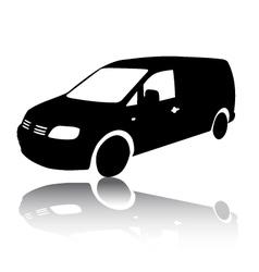 Silhouette of black van car vector
