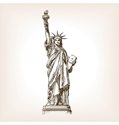 Statue of Liberty hand drawn sketch style vector image