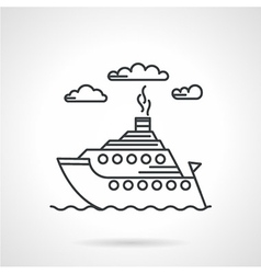 Steamship black line icon vector image