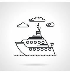 Steamship black line icon vector