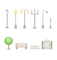 Street lights and lamps set Outdoor elements vector image vector image