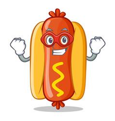 Super hero hot dog cartoon character vector