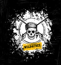 wild and free skull wearing coonskin hat with two vector image