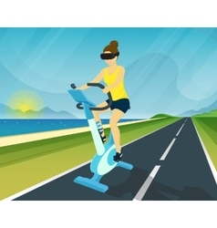 Woman is riding exercise bike through using head vector