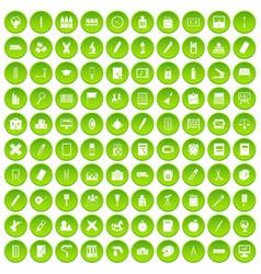 100 stationery icons set green circle vector