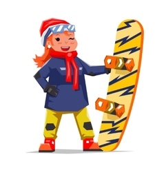 Snowboard girl winter healthy resort polygonal vector