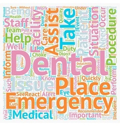 Dental assistant emergency care 1 text background vector